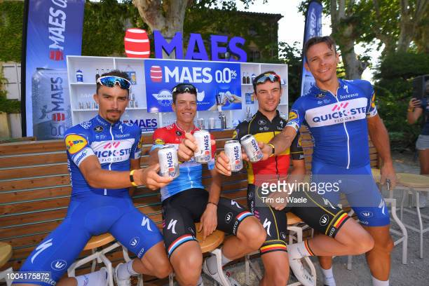Julian Alaphilippe of France, Bob Jungels of Luxembourg, Yves Lampaert of Belgium, Philippe Gilbert of Belgium and Team Quick-Step Floors / during...