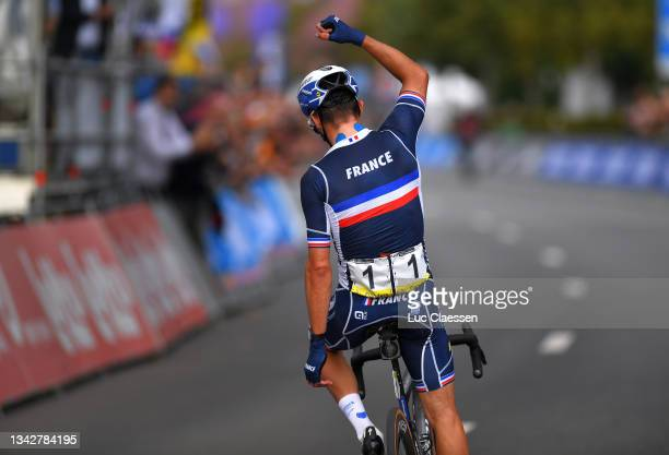 Julian Alaphilippe of France celebrates at finish line as race winner during the 94th UCI Road World Championships 2021 - Men Elite Road Race a...