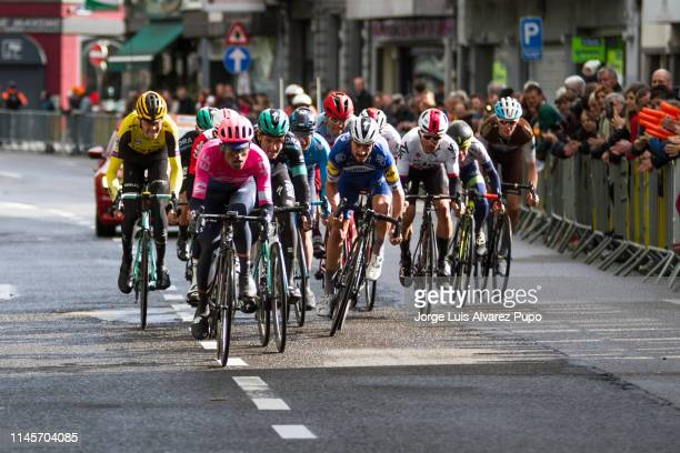 Julian Alaphilippe of France from Deceuninck-QuickStep and Daniel Felipe Martinez poveda of Colombia from team EF Education First leading the sprint...