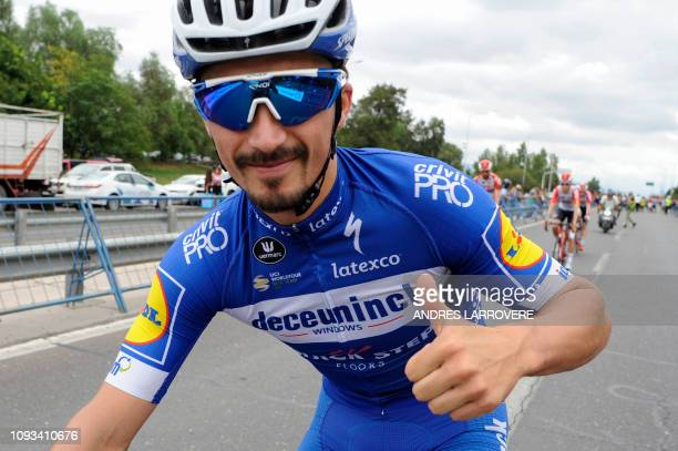 Julian Alaphilippe of France gives the thumbsup before the 7th and last stage of the Vuelta a San Juan Internacional 2019 in San Juan Argentina on...