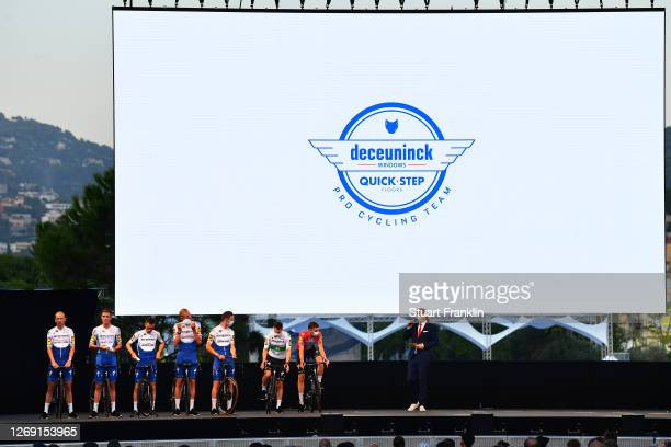 Julian Alaphilippe of France, Kasper Asgreen of Denmark, Sam Bennett of Ireland, Remi Cavagna of France, Tim Declercq of Belgium, Dries Devenyns of...