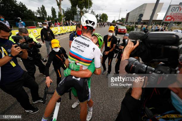 Julian Alaphilippe of France & Mark Cavendish of The United Kingdom and Team Deceuninck - Quick-Step Green Points Jersey stage winner celebrates at...