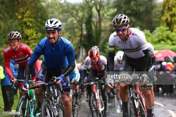 Julian Alaphilippe of France / Michael Matthews of Australia / during the 92nd UCI Road World Championships 2019 Men Elite Road Race a 2618km race...