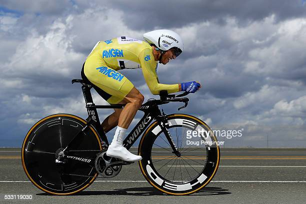 Julian Alaphilippe of France riding for Etixx QuickStep races to eighth place in the individual time trial as he defended the overall race leader's...