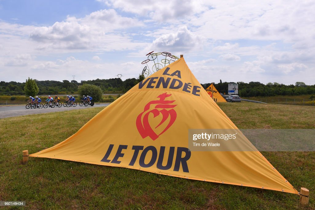 Julian Alaphilippe of France / Tim Declercq of Belgium / Fernando Gaviria of Colombia / Philippe Gilbert of Belgium / Bob Jungels of Luxembourg / Yves Lampaert of Belgium / Maximiliano Richeze of Argentina / Niki Terpstra of The Netherlands / Team Quick-Step Floors of Belgium / Landscape / Grand Départ 2018 Vendée - Pays de la Loire / during the 105th Tour de France 2018, Training Team Quick-Step Floors on July 5, 2018 in La Roche-sur-Yon, France.