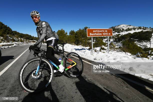 Julian Alaphilippe of France World Champion jersey and Team Deceuninck - Quick Step / Puerto de Benifallin / Snow / during the Team Deceuninck -...