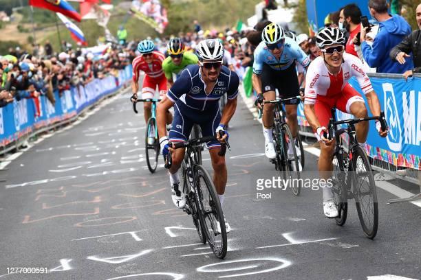 Julian Alaphilippe of France / Wout Van Aert of Belgium / Michal Kwiatkowski of Poland / during the 93rd UCI Road World Championships 2020, Men Elite...