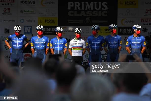 Julian Alaphilippe of France, Zdenek Stybar of Czech Republic, Davide Ballerini of Italy, Yves Lampaert of Belgium, Mikkel Honoré of Denmark, Florian...
