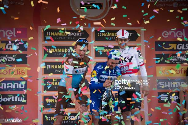 Julian Alaphilippe of the Deceuninck team winner with Oliver Naesen of AG2R La Mondiale second and Michal Kwiatkowski of Team Sky third seen...