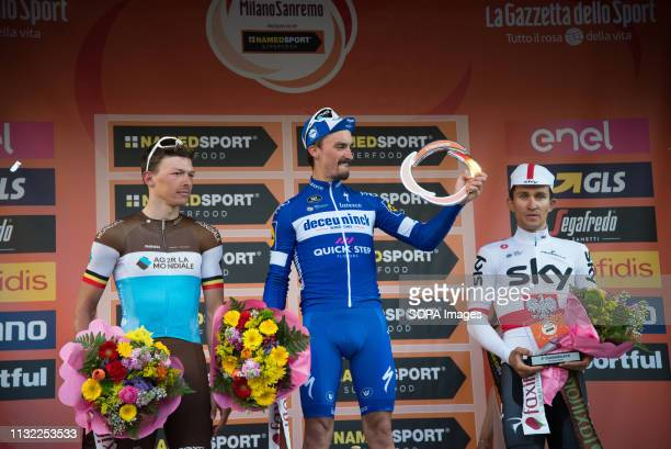 Julian Alaphilippe of the Deceuninck team winner with Oliver Naesen of AG2R La Mondiale second and Michal Kwiatkowski of Team Sky third seen on the...