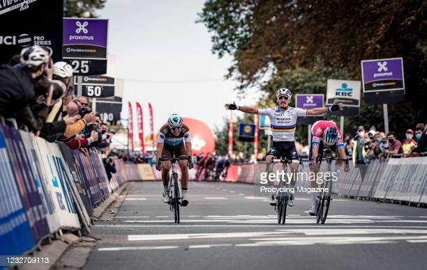 Julian Alaphilippe of UCI WorldTeam DeceuninckQuick-Step winning first place in the Brabantse Pijl road race in central Belgium, on October 7, 2020....