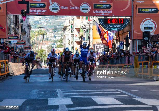Julian Alaphilippe Oliver Naesen Michal Kwiatkowski seen in action during the 110th MilanSanremo 2019 a 291km run from Milan to Sanremo