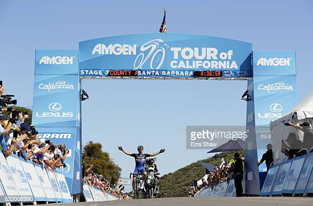 Julian Alphilippe of France riding for EtixxQuickStep celebrates as he crosses the finish line to win Stage 3 of the Amgen Tour of California on May...