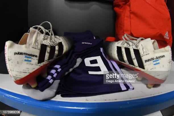 Julian Alvarez of River Plate's boots in the dressing room prior to a semi final match between River Plate and Gimnasia y Esgrima La Plata as part of...