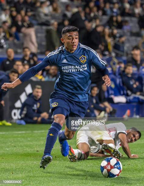 Julian Araujo of Los Angeles Galaxy charges toward the goal during the Los Angeles Galaxy's MLS Preseason Friendly match against Toronto FC at the...