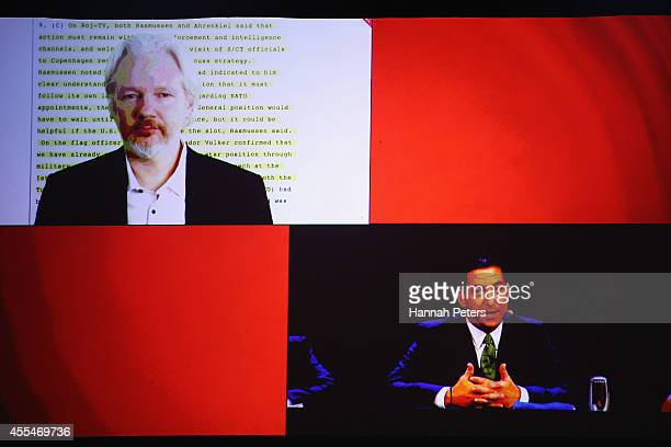 Julian Assange and Glenn Greenwald discuss the revelations about New Zealand's mass surveillance at Auckland Town Hall on September 15 2014 in...