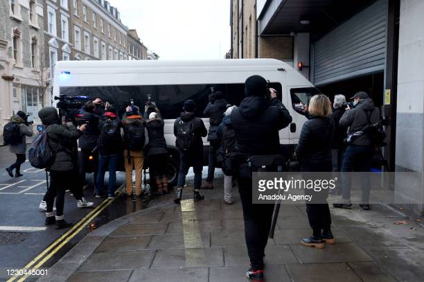 Julian Assange arrives ahead of his bail hearing at the Old Bailey on January 6, 2021 in London, England. Assange has been held in HMP Belmarsh since...