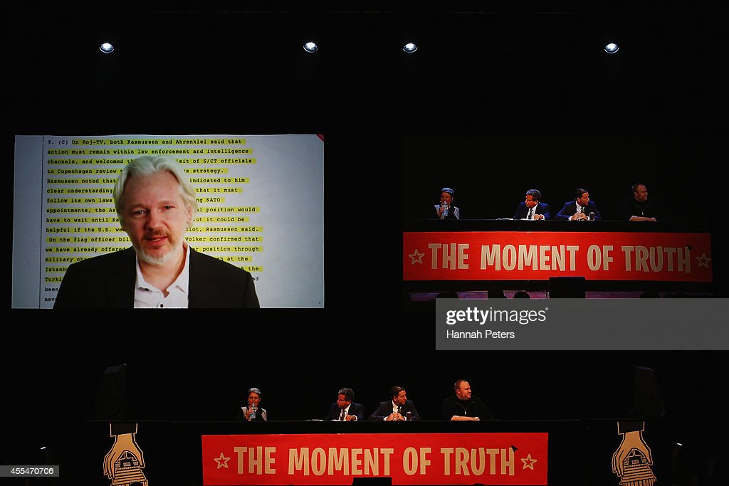 Julian Assange, Internet Party leader Laila Harre, Robert Amsterdam, Glenn Greenwald and Kim Dotcom discuss the revelations about New Zealand's mass surveillance at Auckland Town Hall on September 15, 2014 in Auckland, New Zealand. The general election in New Zealand will be held this weekend, on 20 September 2014.