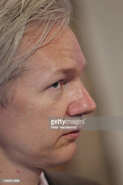 Julian Assange of the WikiLeaks website speaks to reporters at The Front Line Club on July 26 2010 in London England The WikiLeaks website has...