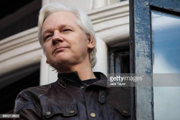 Julian Assange steps out to speak to the media from the balcony of the Embassy Of Ecuador on May 19 2017 in London England Julian Assange founder of...