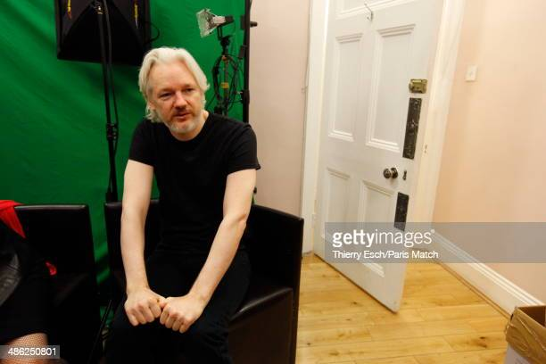 Julian Assange the creator of WikiLeaks and refugee since June 2012 at the Embassy of Ecuador is photographed for Paris Match on March 28, 2014 in...