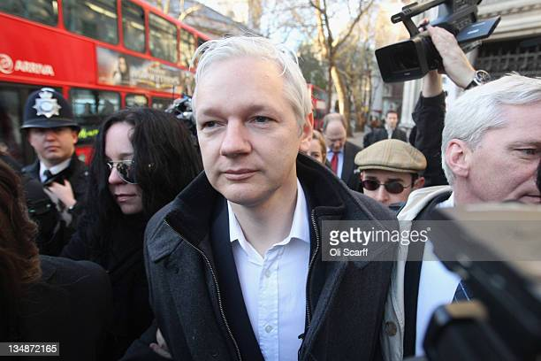 Julian Assange the founder of the whistleblowing 'WikiLeaks' arrives at the High Court before winning the right to petition the UK Supreme Court to...