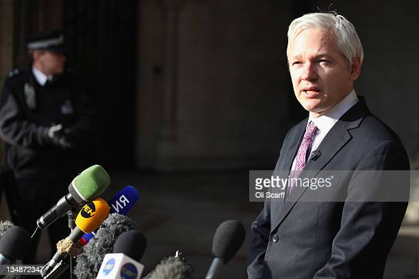 Julian Assange the founder of the whistleblowing 'WikiLeaks' leaves the High Court after winning the right to petition the UK Supreme Court to review...