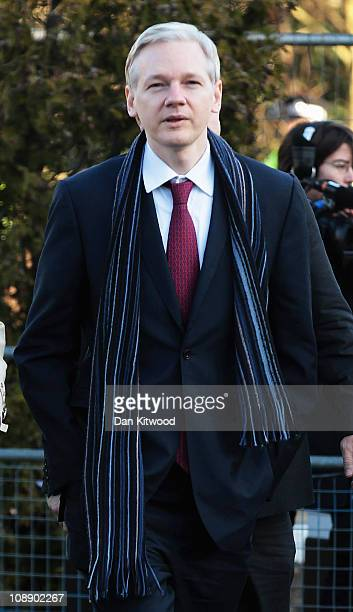 Julian Assange the founder of the WikiLeaks website arrives at Belmarsh Magistrates Court on February 8 2011 in London England Mr Assange is...