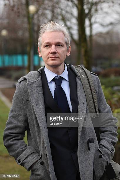 Julian Assange the founder of the Wikileaks whistle blowing website arrives at Belmarsh Magistrates' Court on January 11 2011 in London England Mr...