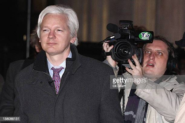 Julian Assange the founder of the WikiLeaks whistleblowing website leaves the Supreme Court on February 02 2012 in London England Mr Assange is...