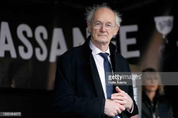 Julian Assange's father John Shipton attends a demonstration in Parliament Square on February 22 2020 in London England Protestors against the UK...