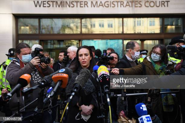 Julian Assange's fiancée Stella Moris gives a statement outside Westminster Magistrates' Court after he has been refused bail on January 6, 2021 in...