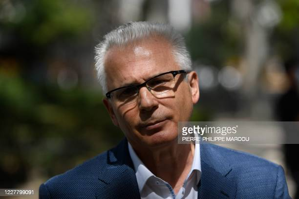 Julian Assange's Spanish lawyer Baltazar Garzon talks to the press after appearing in court in Madrid on July 27 2020 Investigators of Madrid's...