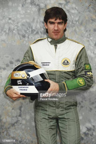 Julian Bailey of Great Britain driver of the Team Lotus Lotus 102B Judd 35 V8 poses for a portrait during pre season testing on 1st February 1991 at...