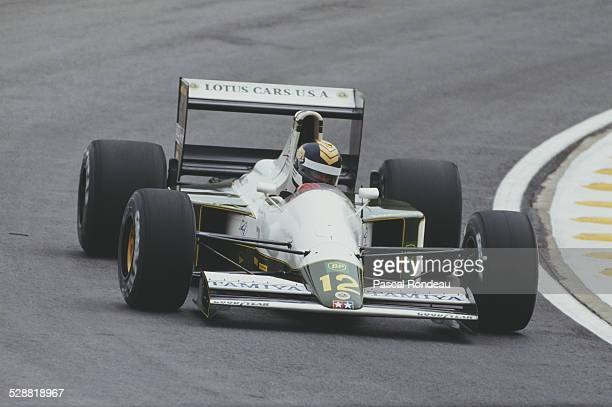 Julian Bailey of Great Britain drives the Team Lotus Lotus 102B Judd V8 during practice for the Brazilian Grand Prix on 23 March 1991 at the...