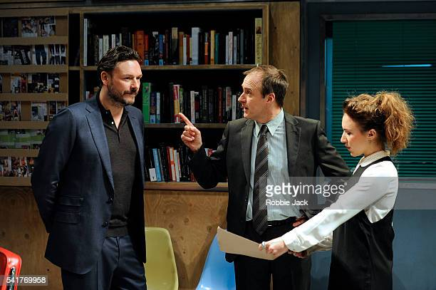 Julian Barratt as Aidan Kevin Doyle as Mr Bradshaw and Esther Smith as Charlotte in Lucy Kirkwood's NSFW at the Royal Court Theatre in London