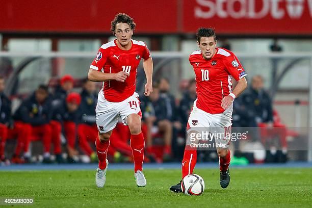 Julian Baumgartlinger and Zlatko Junuzovic of Austria in action during the UEFA EURO 2016 Qualifier between Austria and Liechtenstein at Ernst Happel...