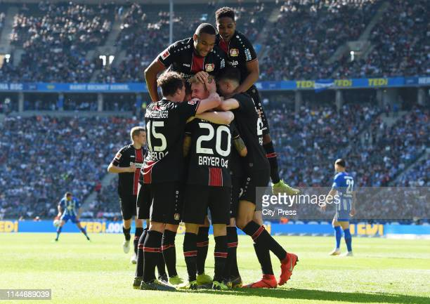 Julian Baumgartlinger Jonathan Tah Julian Brandt Charles Aranguiz Wendell and Kai Havertz of Bayer 04 Leverkusen celebrate after scoring the 13...