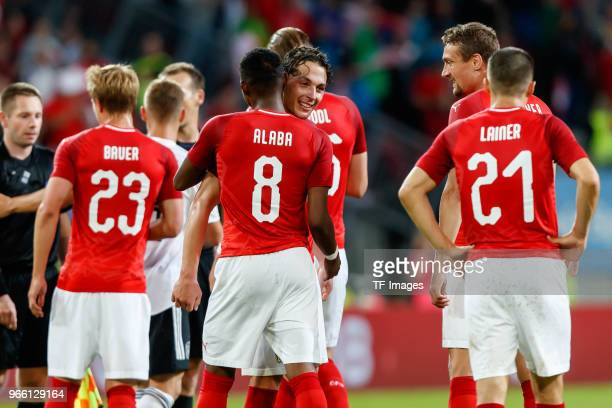 Julian Baumgartlinger of Austria and David Alaba of Austria after the international friendly match between Austria and Germany at Woerthersee Stadion...