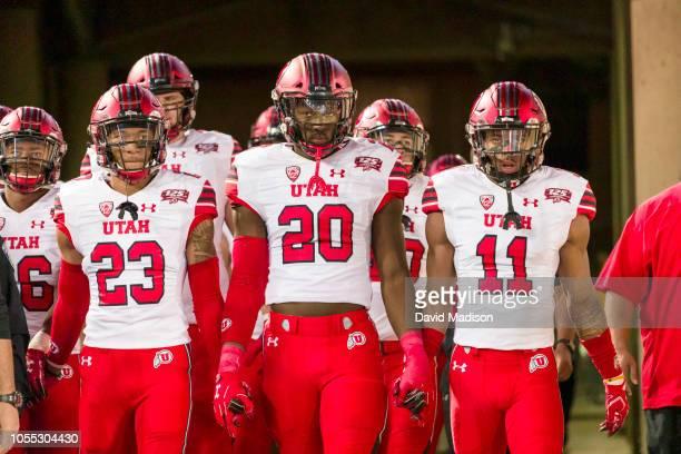 Julian Blackmon Devin Lloyd Malone Mataele and the Utah Utes football team enter the stadium before an NCAA Pac12 college football game against the...