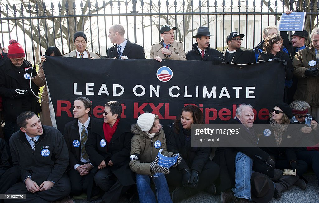 Julian Bond, Michael Brune, Bill McKibbin and Lennox Yearwood protest against Keystone XL Pipeline at Lafayette Park on February 13, 2013 in Washington, DC.