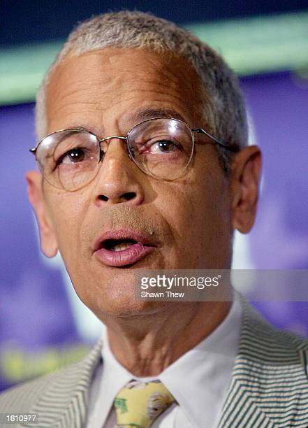 Julian Bond, National Chair of the NAAPC, speaks with reporters August 27, 2001 during a press conference at the National Press Club in Washington,...