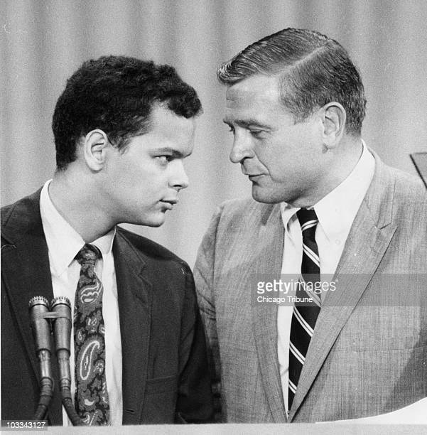 Julian Bond of Georgia, left, talks with U.S. Rep. Dan Rostenkowski of Illinois during the Democratic National Convention in Chicago on August 28,...