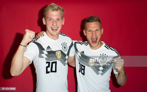 Julian Brandt and Joshua Kimmich of Germany poses for a portrait during the official FIFA World Cup 2018 portrait session on June 13 2018 in Moscow...
