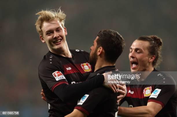 Julian Brandt Kevin Volland and Julian Baumgartlinger of Leverkusen celebrate the goal during the Bundesliga soccer match between Bayer Leverkusen...