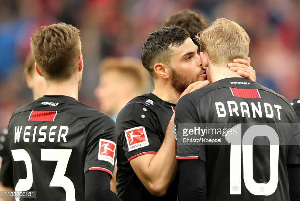 Julian Brandt of Bayer 04 Leverkusen celebrates his sides second goal with his team mates during the Bundesliga match between Bayer 04 Leverkusen and...