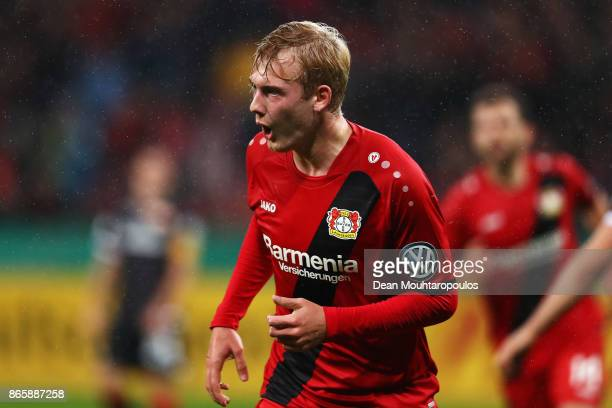 Julian Brandt of Bayer 04 Leverkusen celebrates scoring his teams first goal of the game during the DFB Cup match between Bayer Leverkusen and 1 FC...