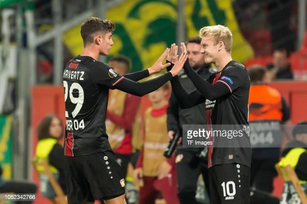 Julian Brandt of Bayer 04 Leverkusen comes on as a substitute for Kai Havertz of Bayer 04 Leverkusen during the UEFA Europa League Group A match...