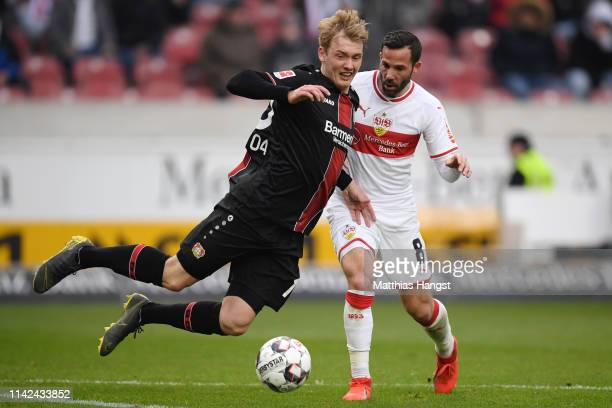 Julian Brandt of Bayer 04 Leverkusen is fouled by Gonzalo Castro of VfB Stuttgart during the Bundesliga match between VfB Stuttgart and Bayer 04...
