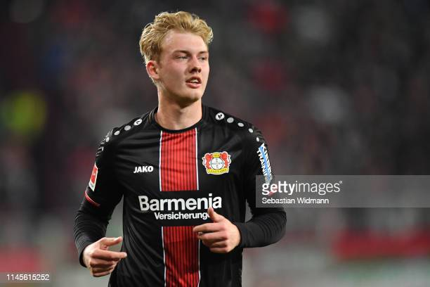 Julian Brandt of Bayer 04 Leverkusen looks on during the Bundesliga match between FC Augsburg and Bayer 04 Leverkusen at WWKArena on April 26 2019 in...